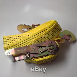 4 Heavy-Duty Cargo Snap Hook Ratchet Tie-Down Straps & 4 Axle Straps-Yellow Set