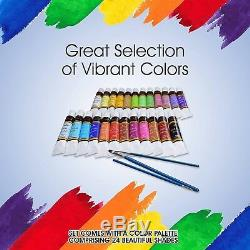 Acrylic Paint Set 24 Colors by Crafts 4 ALL Perfect For Canvas, Wood, Ceramic