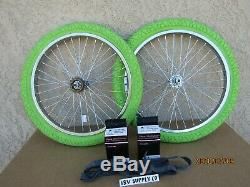 Bicycle 20'' Heavy Duty Rim Set 2 Tires, 2tubes & 2 Liners For Gt, Bmx