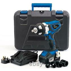 Draper 20V Cordless Impact Wrench Gun 1/2 Inch Drive with 2 Li-ion Batteries