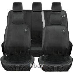FULLY TAILORED HEAVY DUTY FULL SET 9pc BLACK CAR SEAT COVERS for FORD RANGER T6