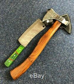 Handmade Set of 2 Damascus & Carbon Steel Heavy Duty Axe Collectible Gift Craft