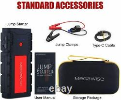 MEGAWISE Heavy Duty Truck Battery Booster Pack Jump Starter Box Portable 2500