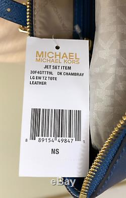 Michael Kors Jet Set East West Top Zip Dark Chambray Saffiano Leather Large Tote