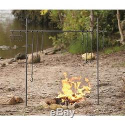 Outdoor Campfire Cooking Equipment Camping Hook Set Heavy-Duty Iron with Carry Bag