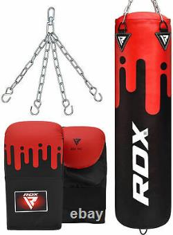RDX 4ft Punch Bag Filled Kick Boxing Set Heavy Duty MMA Gloves Chain New