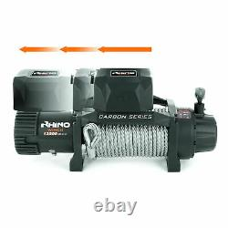 Rhino Winch Electric Recovery, 12v 13500lb Carbon Heavy Duty 4x4 Steel Cable