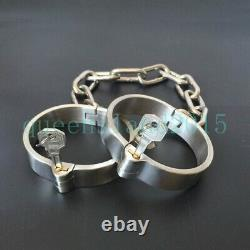 Stainless Steel Heavy Duty Hand Cuff Ankle Slave Collar Cuffs Chain Shackle