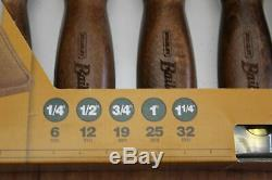 Stanley Bailey Premium Wood Chisel Set of Five with Leather Pouch New Never Used